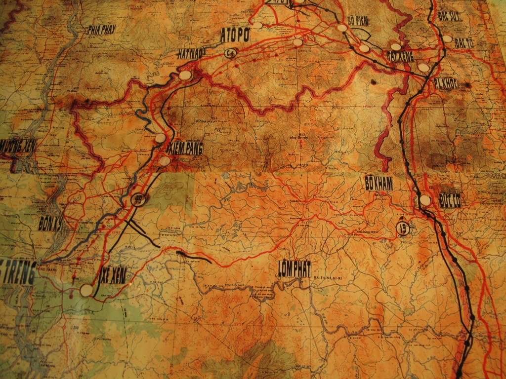 Old map of the Ho Chi Minh Trail in Cambodia